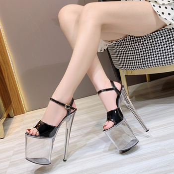 Shoes Women Sandals Model Fashion Show 20cm Sexy High Heels Patent leather Transparent Crystal Stripper Shoe Platform Clear heel - discount item  39% OFF Women's Shoes