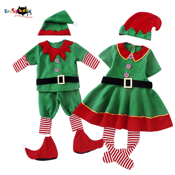 Eraspooky Group Christmas Elf Costume For Kids Adult Family Matching Clothes New Year Outfit Girls Boys Santa Claus Cosplay Hat