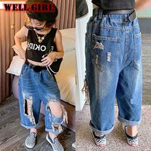 Trousers Kids Jeans Distressed-Holes Ripped Hollow-Out Pants Toddler Girl Children Denim