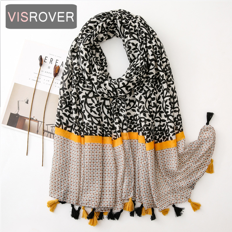 VISROVER 2020 Fashion Summer Geometry Printing Viscose Scarf With Tassel Fashion Wraps Shawls Summer Beach Hijab Wholesales