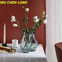 WU CHEN długie przezroczyste szklany wazon tatuaże do ciała popiersie dekoracja biurka kompozycja kwiatowa malowane z podwójnymi szybami dekoracja domowa z wazonem R5484 tanie tanio WU CHEN LONG Europa Szklane i kryształowe Blat wazon Flower Vase Glass Vase Floral Organ Luxurious European 6-8 9 Inches