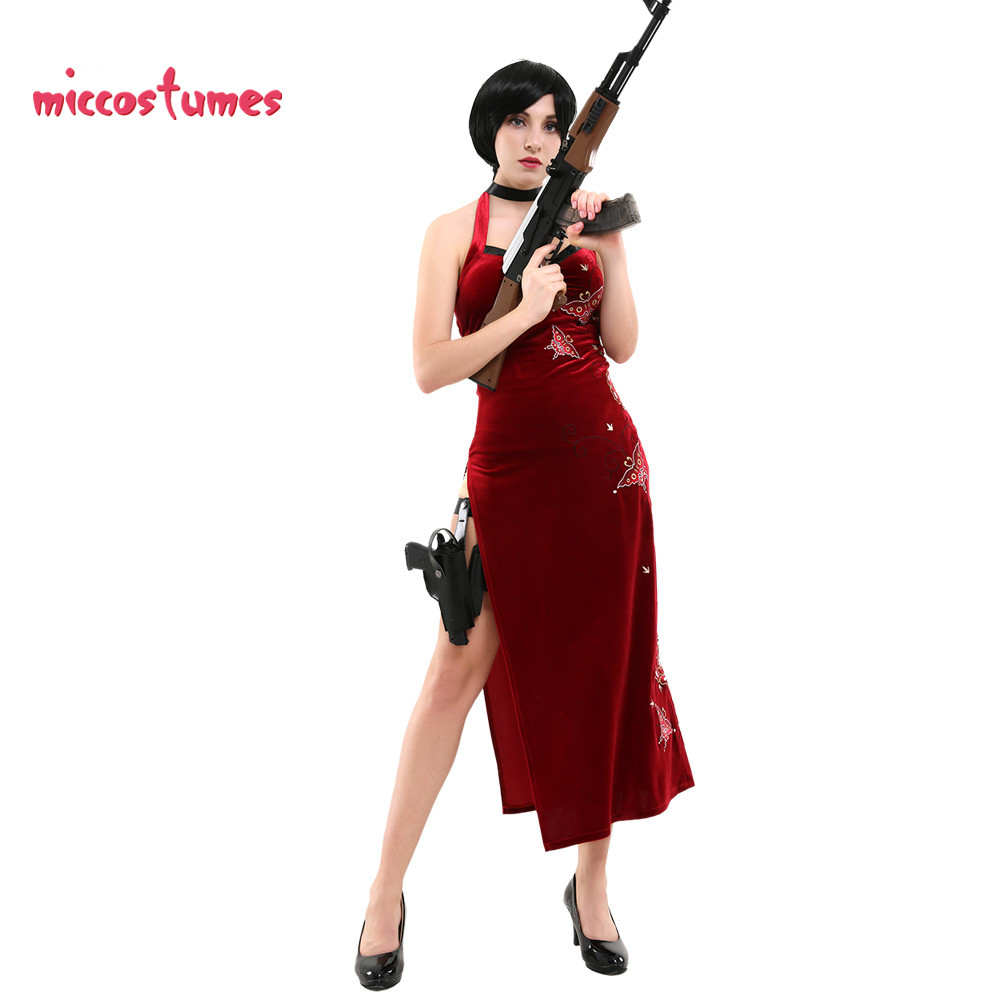 Ada Wong Cosplay Costume Embroidered Cheongsam Style Red Dress Women Halloween Cosplay Outfit