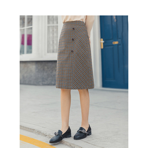 Image 4 - אינמן אביב חדש הגעה נשים של ספרותי רטרו סגנון גבוה מותן משובץ שקופיות יחיד כפתורי נשים הולם אונליין חצאית