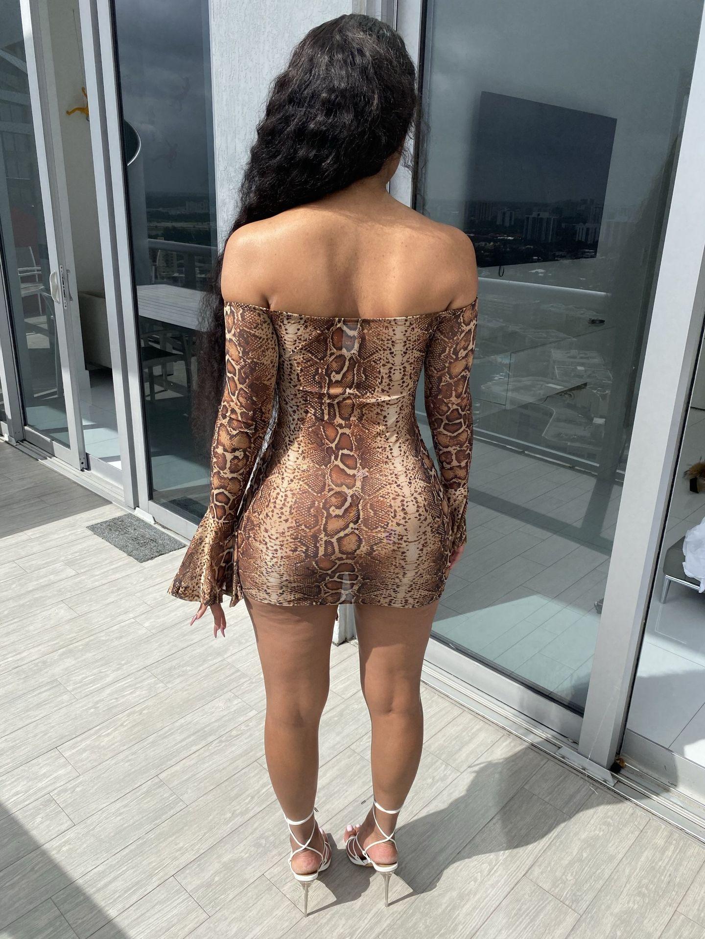 H9cd72625efbd410fb3cec32bf886ebbeD - Adogirl Snake Print Long Sleeve Dress Women Evening Party Night Dresses Sexy Off Shoulder Drawstring Bodycon Slim Mini Dress