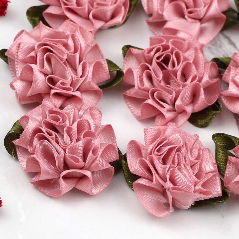 hágalo usted mismo cinta de raso Arco De Flor Rosa Apliques Decoración del Hogar Boda Fiesta 100 un