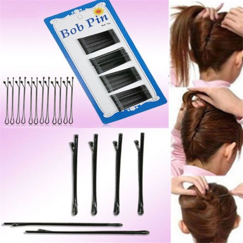 Hot Sale New 60Pcs Black Wave And Flat Type Invisible Hair Pins Flat Top Bobby Pins Grips Hair Salon Hairpin Hair Styling Tool