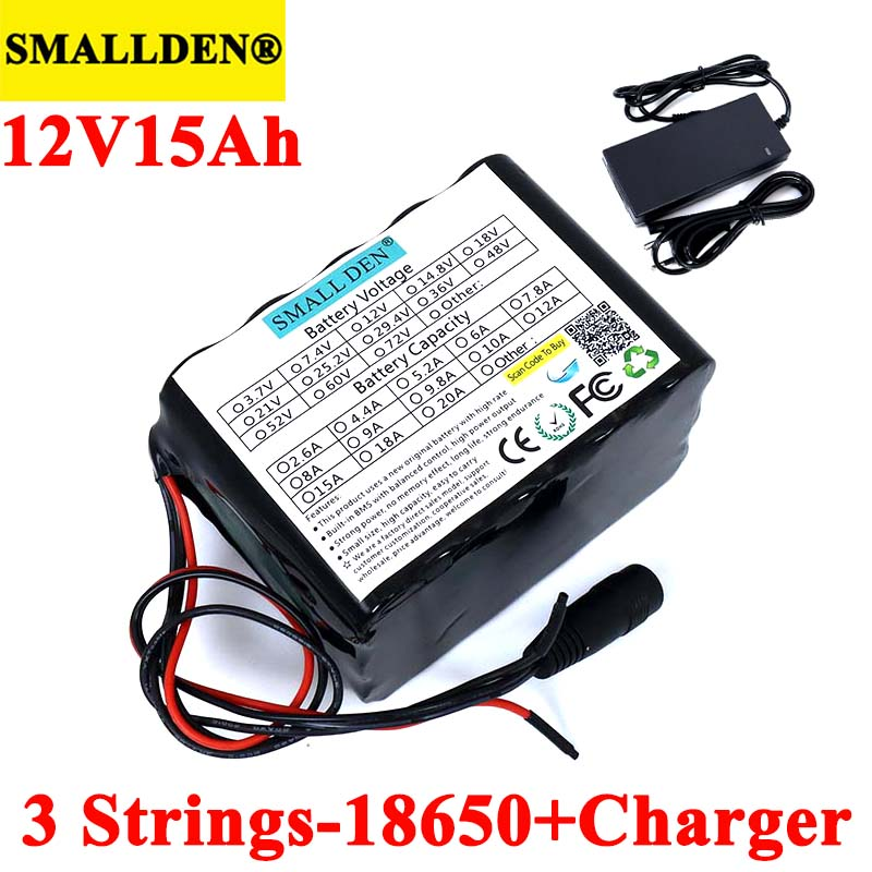 SMALLDEN <font><b>12V</b></font> <font><b>15ah</b></font> 18650 <font><b>lithium</b></font> Rechargeable <font><b>battery</b></font> 11.1V 15000mAh with bms For hernia lamp,amplifiers,monitoring+12.6V Charger image