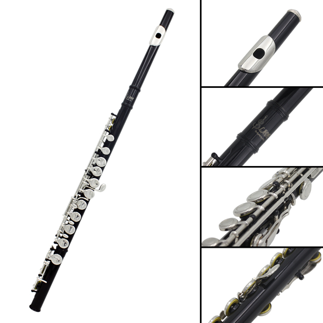 16 Holes C Key Western Concert Flute Cupronickel Plated Silver Woodwind Instrument with Cleaning Cloth Stick Gloves Padded Case
