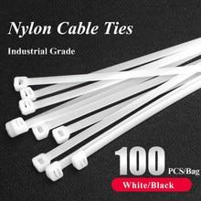 100 pces auto-travamento plástico laço de náilon preto 5x300cable tie fixação ring3x200 cabo laço zip envoltórios cinta laço de cabo de náilon conjunto