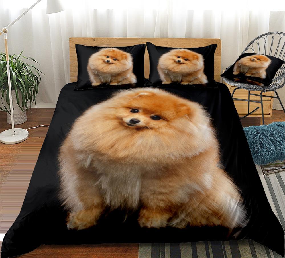 3D Pomeranian Duvet Cover Set Cute Dog Bedding Kids Boys Girls Pet Quilt Cover Black Queen 3pcs Animal Home Textiles Dropship