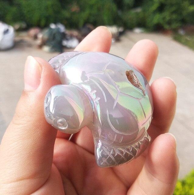 1 pièces belle galvanoplastie naturelle mini géode agate tortue guérison tortue de cristal pour décoratif