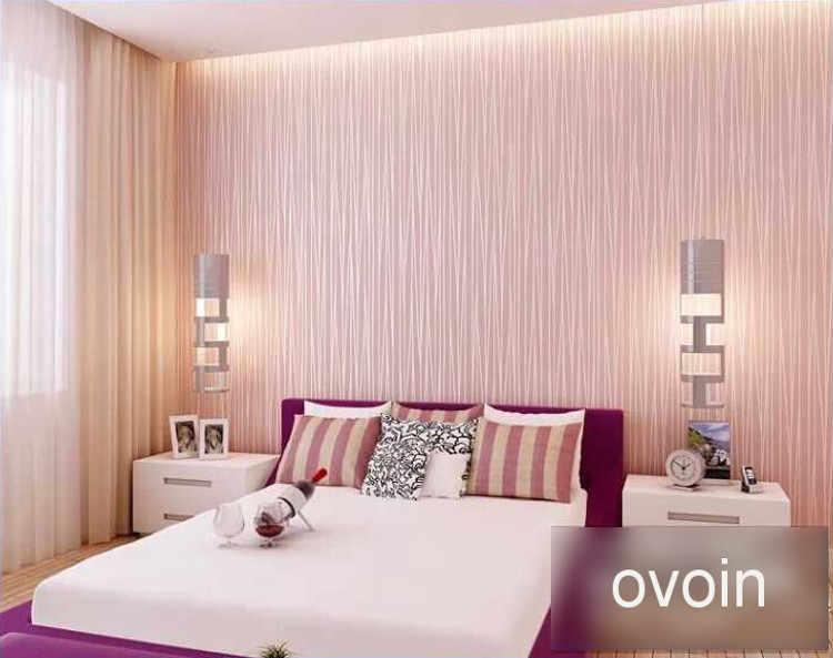 Розовые Обои для девочек, спальни, рулон бумаги, Флокированная рельефная текстура, роскошные современные полосы