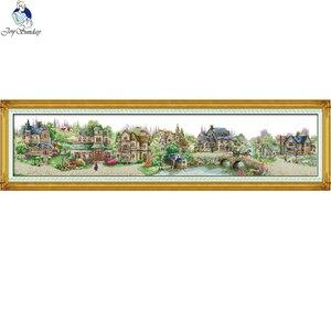 Image 1 - Ciudad europea, Kits de punto de cruz DIY chinos, tela estampada de 11CT lienzo de 14CT, bordado de paisaje de pueblo de gran tamaño costura