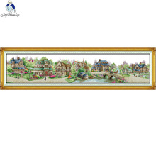 European town,Chinese DIY Cross Stitch Kits,11CT Printed Fabric 14CT Canvas, Big Size Village Scenery Embroidery Needlework