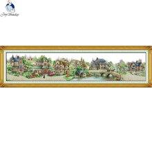 Kits de points de croix, ville européenne, bricolage chinois, toile en tissu imprimé 11CT 14CT, broderie, paysage de Village de grande taille, couture