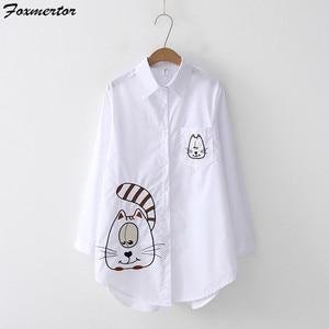 Image 4 - Модная вышитая женская блузка , рубашка , осень 2019, мультяшная вышивка, женские блузки , свободный верх, длинный рукав, белая рубашка , блузы