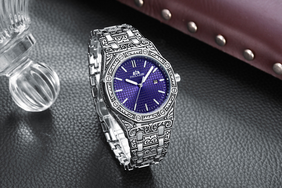 H9cd7c5ea77af4c73ab87a4804fe7007bZ Men Carved Antique Vintage Luminous Rose Gold Yellow Gold Silver 2 Tones Fashion Blue Classic Quartz luxury watch