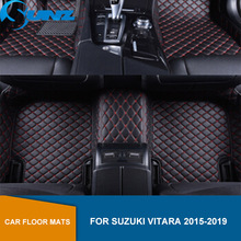 Leather Floor mat For Suzuki Vitara 2015 2016 2017 2018 2019 Custom floor mats Waterproof Carpets Car carpet floor mats SUNZ for suzuki sx4 2010 2013 car floor mats carpets auto floor mats waterproof dustproof styling interior decoration protection