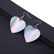 Korean New Cute Heart Earrings Statement Colorful Sequins Dangle Drop Earrings for Women Fashion Jewelry Brincos Aretes De Mujer(China)