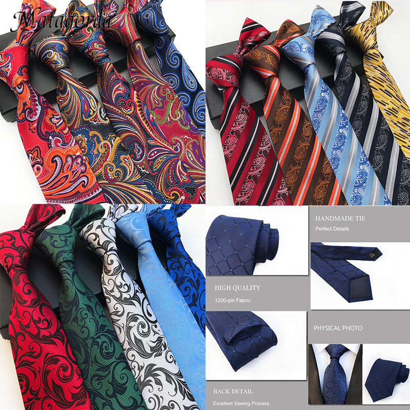 Luxury 8CM Man Tie 100% Silk Necktie Paisley Flower Jacquard Striped Gravata Business Wedding Party Ties Neckwear Formal Tie