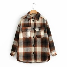 ZA autumn winter Women's plaid woolen shirt Plus tweed thick coat Warm Outwear woman Oversize Coats female shirtwear jacket(China)