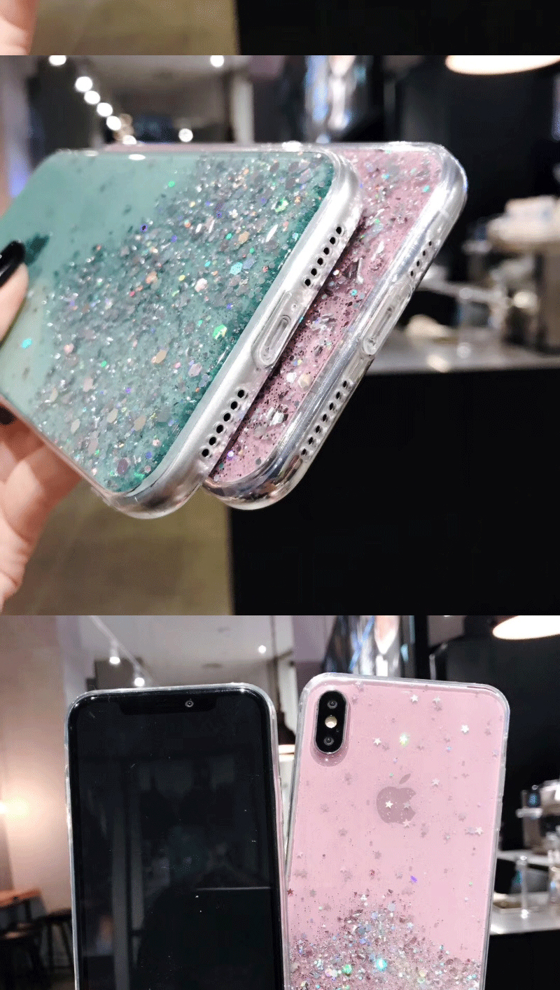H9cd7fe2fe34a40538b8a97c11e29e6449 - Solid quicks Case For iphone 11 8 7 Plus 6 6s Glitter Bling Sequins Epoxy Star Case For iphone 11 Pro MAX X XR XS Soft TPU Cover
