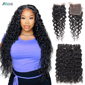 Allove Water Wave Bundles With Closure Brazilian Hair Weave Bundles With Closure Nonremy Human Hair Weave 3 Bundles With Closure