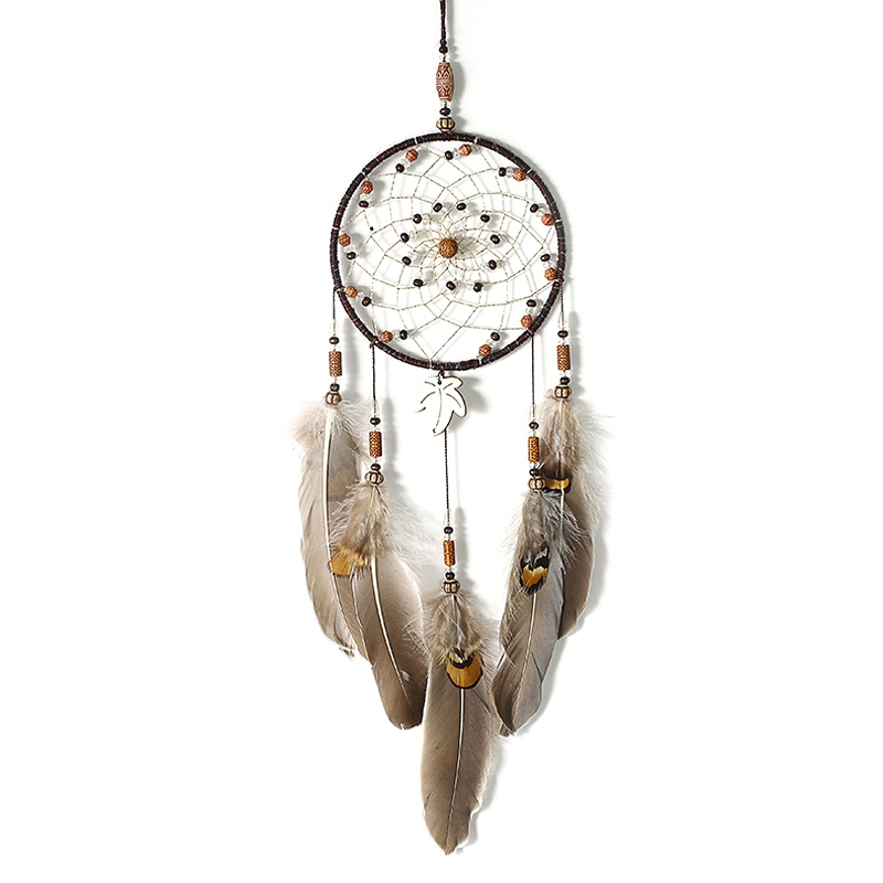 TOP!-Handmade Dreamcatchers Home Decor with Tassel Feather Ornament Craft Blessing Gift Handmade Maple Leaf Dream Catchers with