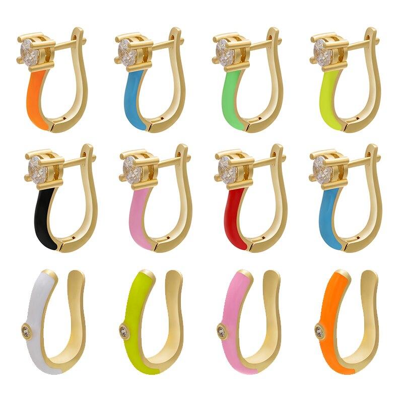ZHUKOU 1 Piece gold color small Hoop Clip Earrings fake piercing earings multi-color women fashion jewelry 2020 model:VE217