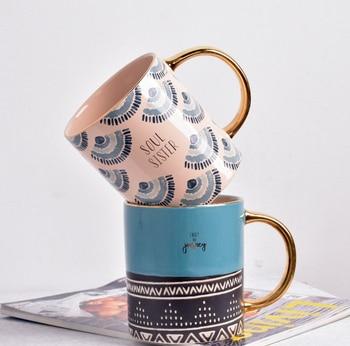 Creative Keramische Mok Koffie Met Gouden Handgreep Handgemaakte Grote Aardewerk Theekop Reizen Keuken Servies Nordic Home Decor
