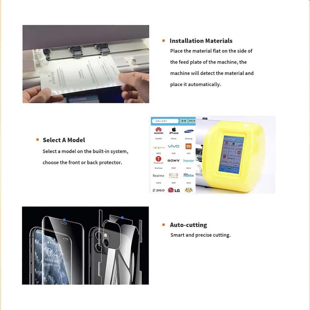 Tools : Fonlyu Flexible Hydrogel Film Screen Protector Cutting Machine For Phone Watch Airpods Camera Tablet Front Glass Film