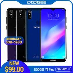 DOOGEE Y8 Plus Tela do Smartphone Android 9.0 LTE FDD 6.21 polegada 19:9 Waterdrop MTK6761 32 3GB de RAM GB ROM 4000mAh Dual SIM 13.0MP
