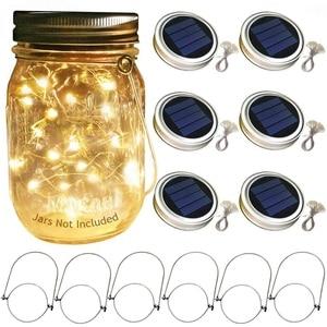 Image 2 - ホットソーラーメイソンジャー蓋ライト、6パック20 ledストリングの妖精スターホタル瓶の蓋ライト、6ハンガー付属 (瓶別売) 、p