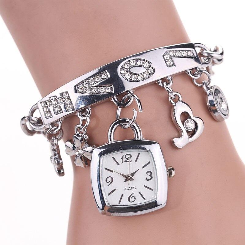 2020 New Fashion Watch Women LOVE Rhinestone Chain Gold Silver Square Watch Girls Lady Bracelet Quartz Wrist Watch Drop Shipping