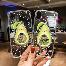 GYKZ Bling Avocado Quicksand Clear Phone Cases For