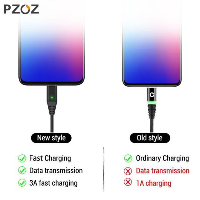 PZOZ 1M 2M Magnetic Cable Micro usb Type C Fast Charging Microusb Type-C Magnet Charger Wire usb c For iphone 11 X Xr usb cable 2