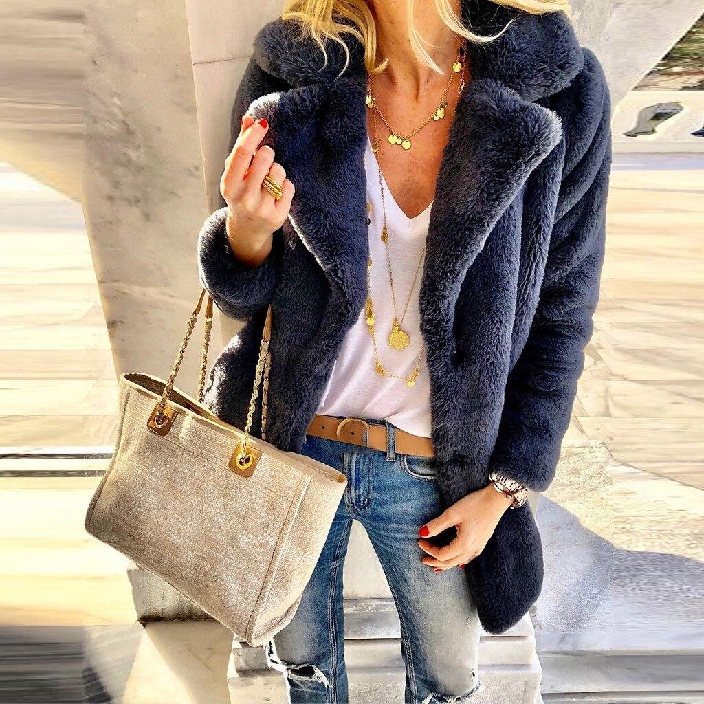 Manteau à manches longues pour femmes de fausse fourrure chaud automne-hiver 2019 femmes dames manteau doux veste revers hiver longs hauts d'extérieur