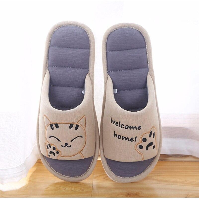 H9cd8bcf0f9a746619147d91a073c7e05p Mulheres macio casa plana gato chinelos de algodão inverno quente mulher moda casa sapatos conforto do sexo feminino estilo casal interior