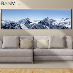 BANMU Nordic Long Paintings Print Snow Mountain on Canvas Painting Wall Art Poster Home Decor for Livingroom Decoration No Frame