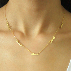 AurolaCo Custom Name Necklace Personalized Stainless Steel Multiple Names Gold Choker Nameplates Pendant Necklace