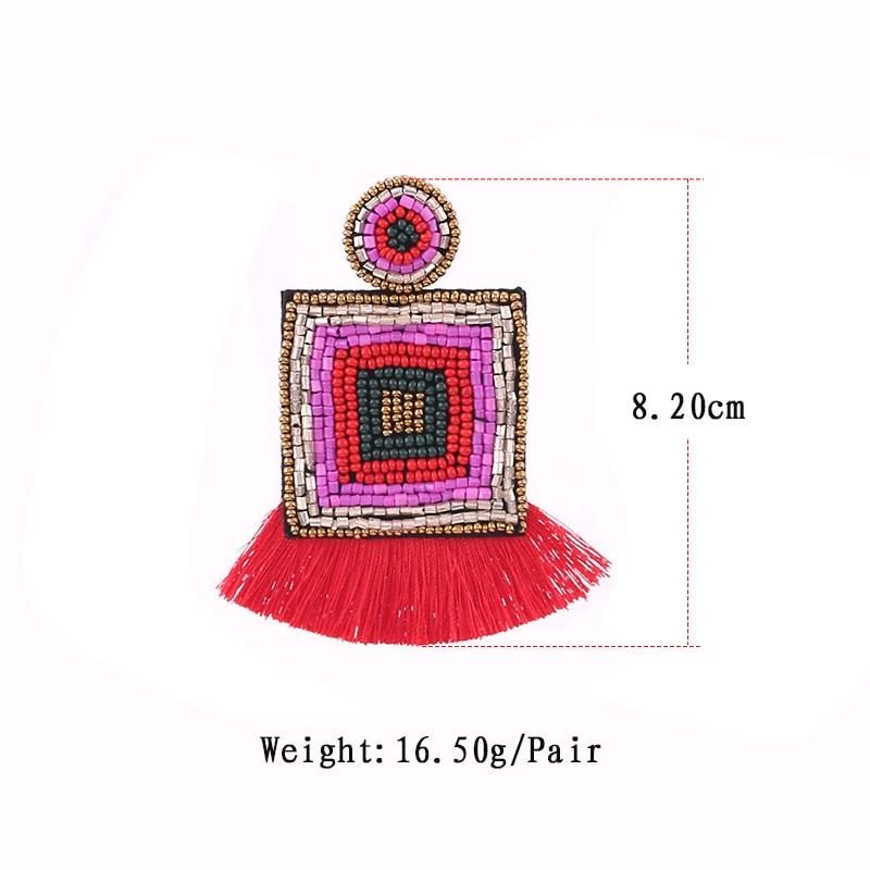 2019 Bohemian Handmade Beads Big Eye Tassel Drop Earrings For Women Wedding Trendy Girls Party Gift Statement Earrings Red size