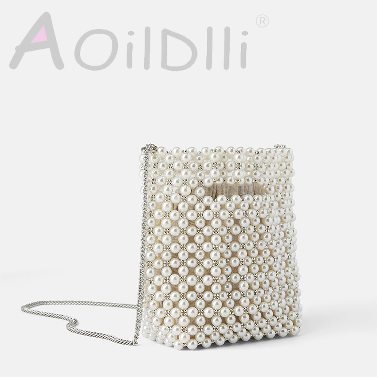 Beaded New Female Bag Summer Pearl Decoration Mini Shoulder Slung Female Handbag
