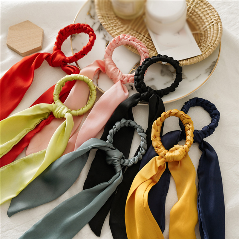 New Handmade Knit Knotted Long Streamers Satin Hair Ring Hair Ties For Women Girls Sweet Solid Color Scrunchies Hair Accessories