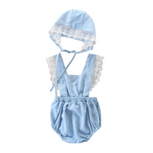 Get more info on the Newborn Kids Baby Girls Outfits Clothes Lace Backless Romper Jumpsuit+Hat Set 9.5