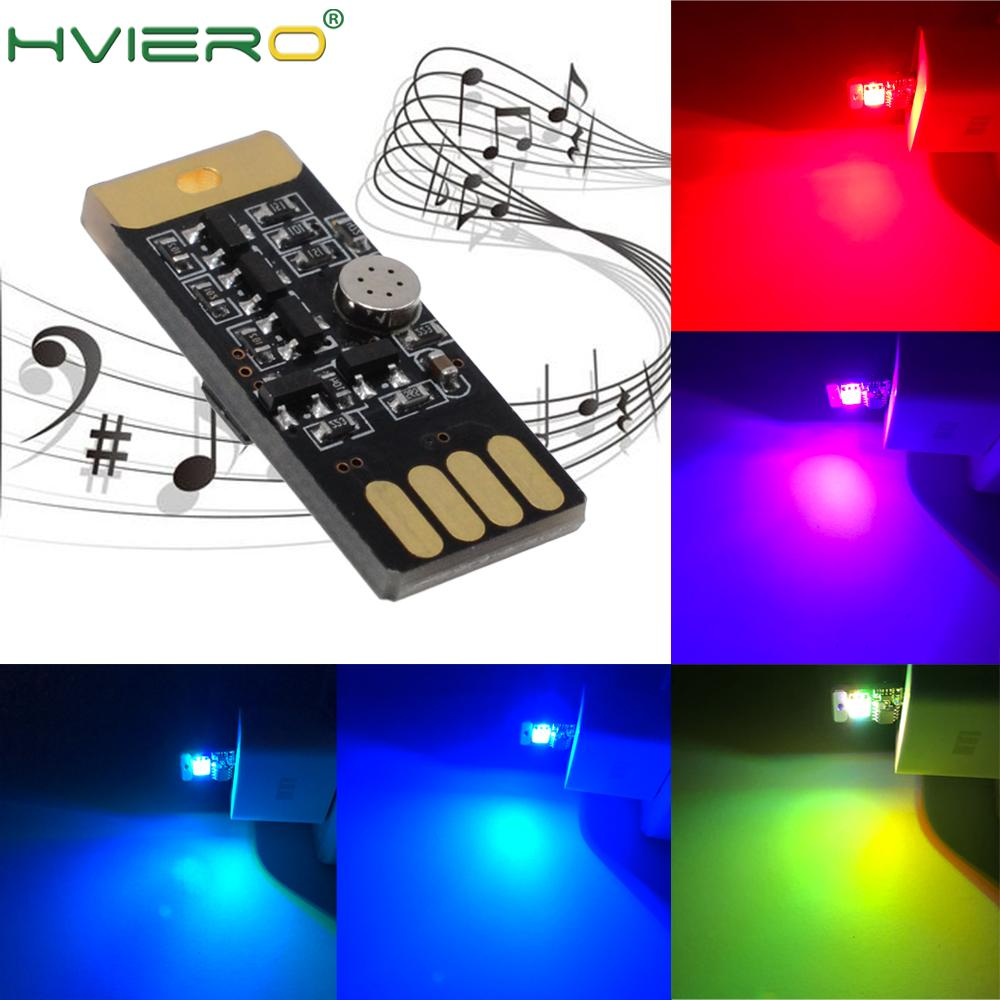 2X Auto USB LED DC 5V Music Playing Dimmable Light Atmospher Decorative Lamp Lighting Portable Plug And Play RGB Voice Activated