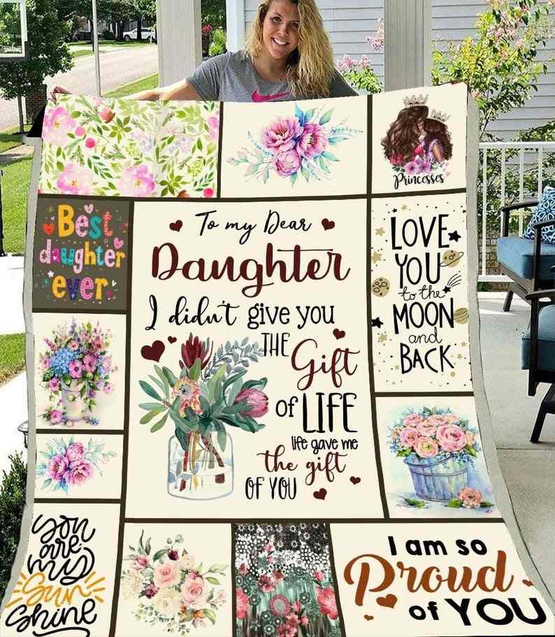 SOFTBATFY  To My Daughter Quilt Print All Season Quilt For Bed Soft Warm Blanket Cotton Quilt Dropshipping