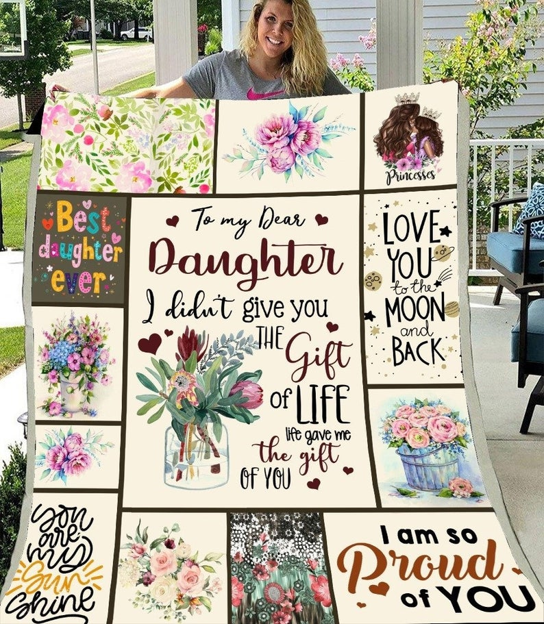 SOFTBATFY To My Daughter Quilt Print All Season Quilt For Bed Soft Warm Blanket Cotton Quilt