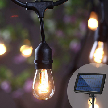 Luz Solar de jardín S14, guirnalda de luces de cadena con Panel Solar de 3W, bombillas a prueba de golpes, impermeables para casa de campo