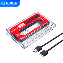 ORICO 2.5'' Hard Drive USB3.0 Type-C HDD Enclosure External Transparent HDD Case DIY Stickers for SSD HDD Cassette Tape Design