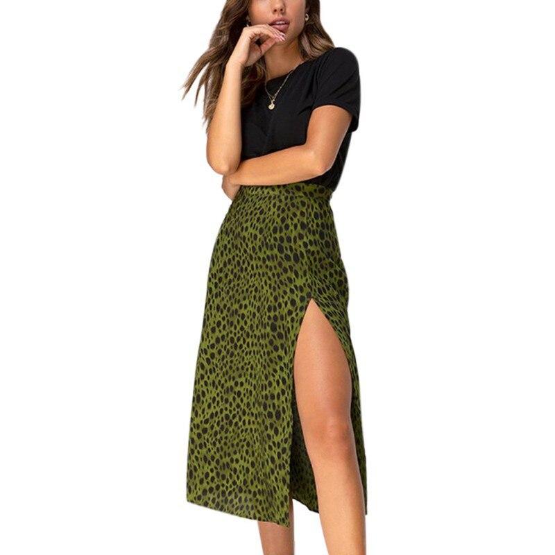 Women Pencil Skirt Over The Knee Lace-Up Green Leopard Print High Waist Long Thin Ladies Summer Split Skirt